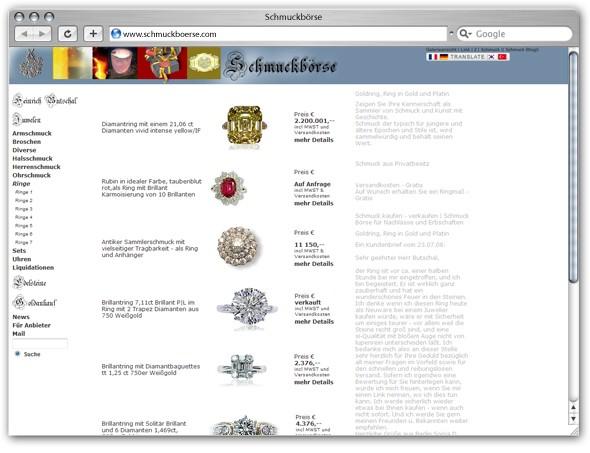 Zur Schmuckbörse - das Angebot umfasst antike Juwelen wie auch ausgefallene Schmuck Unikate und Schnäppchen. Schmuckangebote von Privat und Adelsbesitz